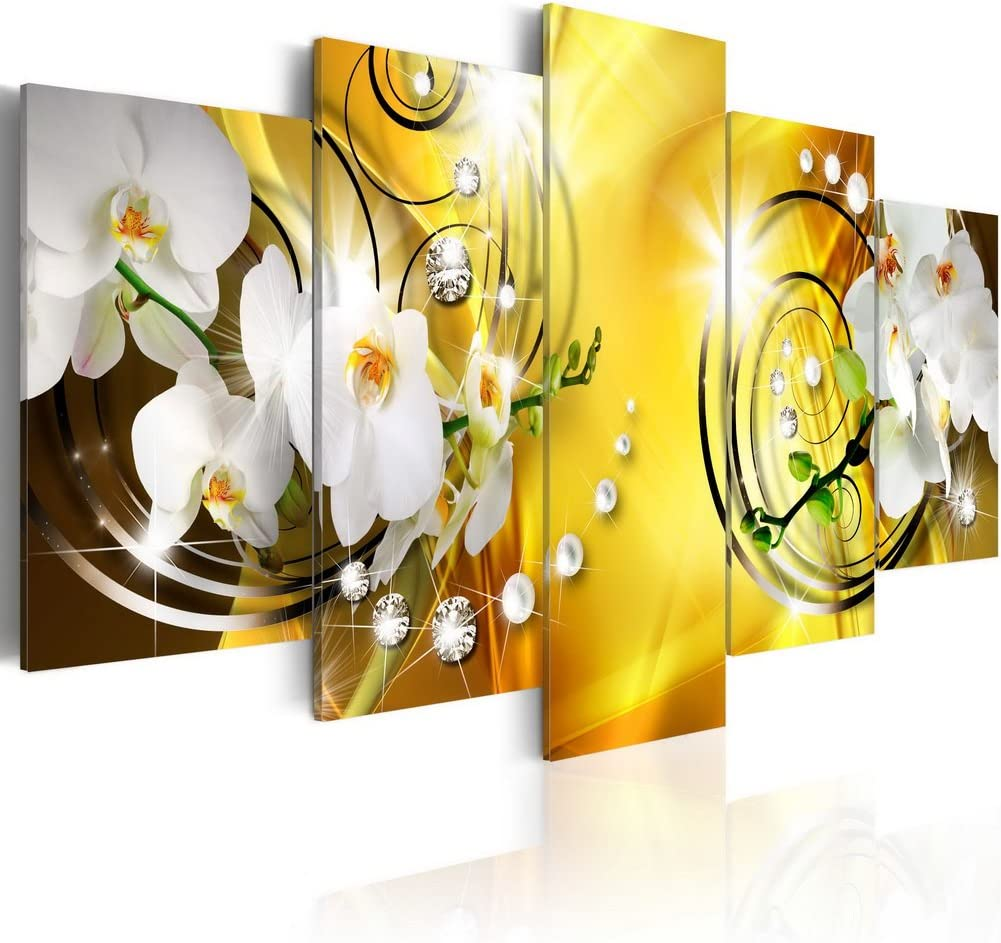 Flower Canvas Print Art Wall Decor Picture 5 Panels White Orchid Floral Painting Yellow Contemporary Artwork for Bedroom Ready to Hang 40x20