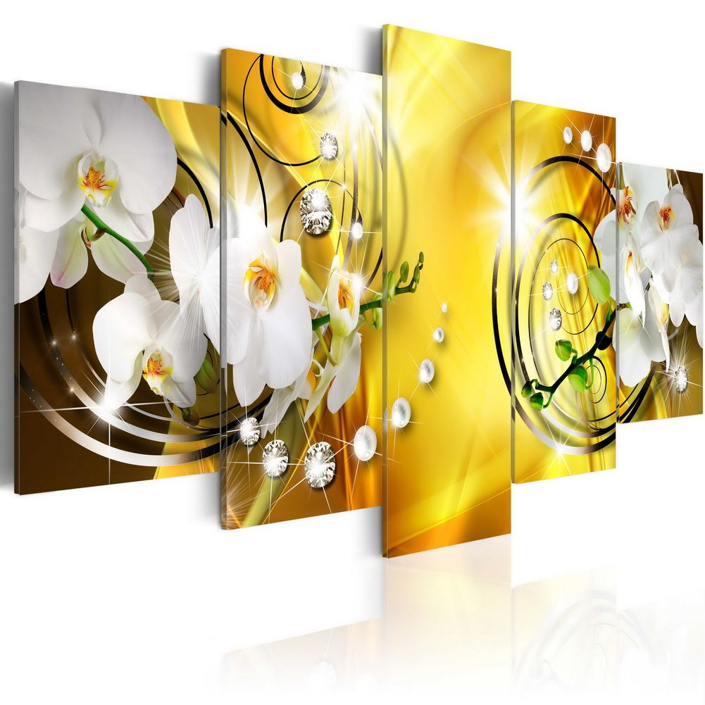Modern Canvas Print Art Wall Picture 5 panels Flower White Orchid Floral Painting Contemporary Diamond Brown Decor Artwork Framed and Stretched ( 40