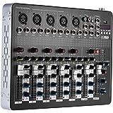 ammoon Bluetooth Profesional 7 Canales de Micrófono Line Mezclador de Audio Mesa de Mezclas con Ecualizador de 3 Bandas 48V Poder Fantasma Interfaz USB