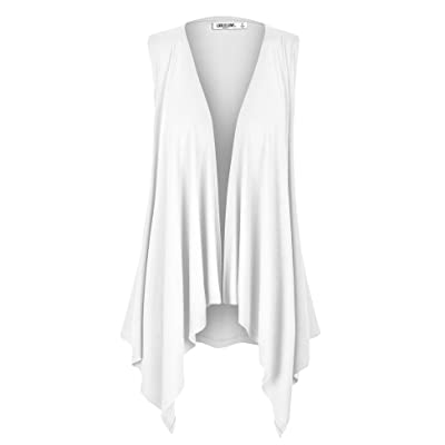 LL Women's Sleeveless Ombre/Solid Draped Open Front Cardigan Vest Asymmetric Hem Plus Size - Made in USA at Women's Clothing store