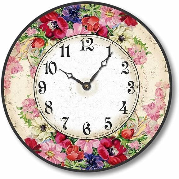 Fairy Freckles Studios Item C1605 Vintage Style 10.5 Inch English Floral Clock