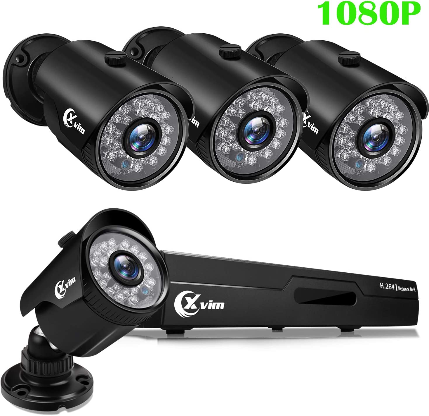 XVIM 1080P Home Security Camera System 4CH CCTV DVR Recorder 4pcs Full HD 1080P 1920TVL Indoor Outdoor Waterproof Surveillance Cameras Night Vision, Motion Alert, Easy Remote Access No Hard Drive