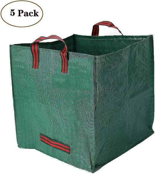 ZYJFP Bolsas de Basura de jardín, Paquete de 5 Bolsas cuadradas de Almacenamiento en el hogar de PP Bolsa de Basura Recolector de Hojas de Basura de jardín Plegable con asa: Amazon.es: