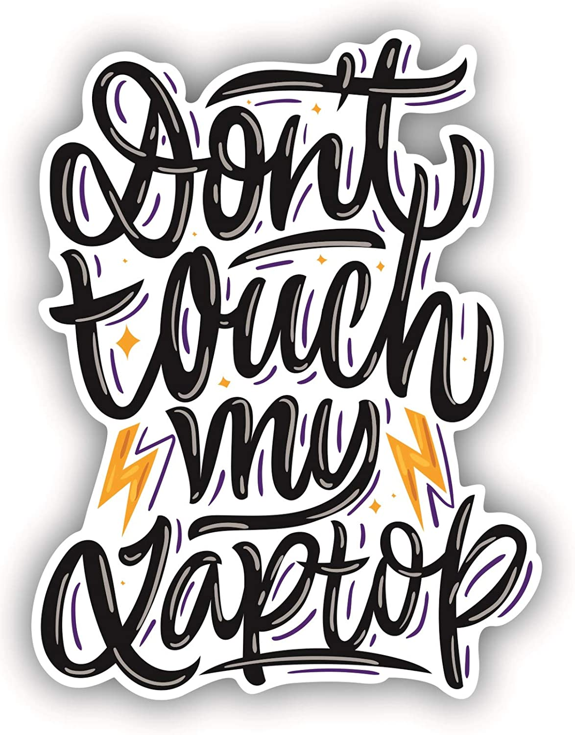 Do Not Touch My Laptop Sticker Power Stickers for Women Vinyl Stickers MacBook Decals Skins, Warning Sticker Quote Funny Inspirational Decals Black and White Stickers Trackpad (3.1 Inches, Black)