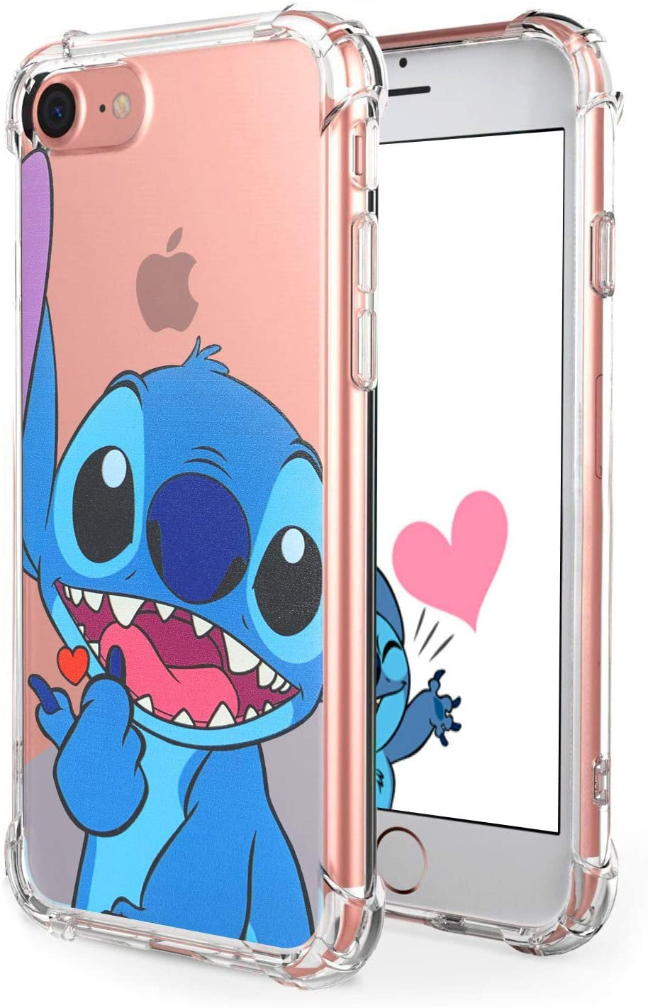 """Logee Sweet Stitch TPU Cute Cartoon Clear Case for iPhone 6/6S 4.7"""",Fun Kawaii Animal Soft Protective Cover,Ultra-Thin Shockproof Funny Creative Character Chic Cases for Kids Teens Girls Boys(iPhone6"""
