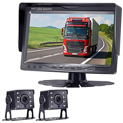 """HD 720P Backup Camera and 7"""" Monitor Kit, 2 Cameras for School Bus/Trailer/RV/Truck/Pick up/Van Rear View Camera Single Power System IP68 Waterproof Night Vision Driving/Reversing Use: Car Electronics"""
