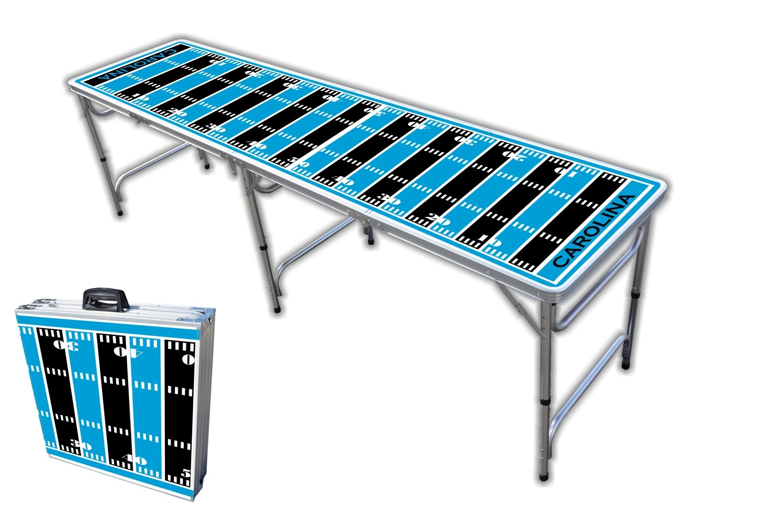 8-Foot Professional Beer Pong Table - Carolina Football Field Graphic by PartyPongTables.com