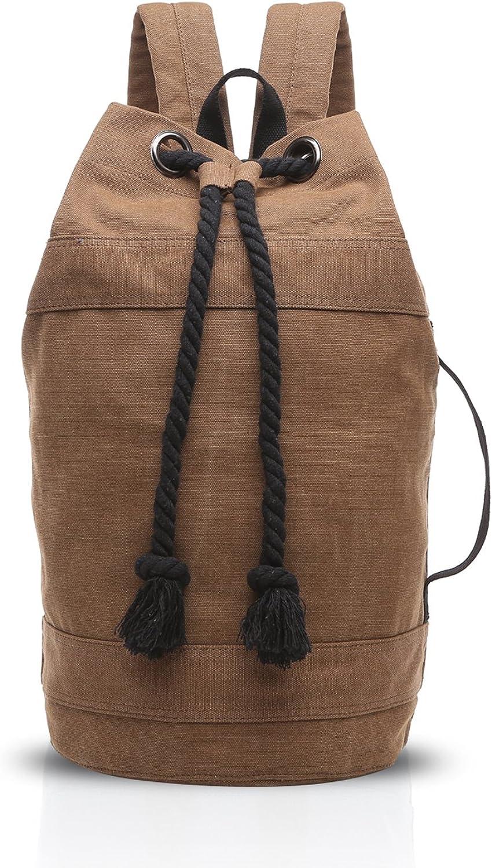 FANDARE Drawstring Backpack Unisex Laptop Bag Outdoor Travel Daypack Canvas