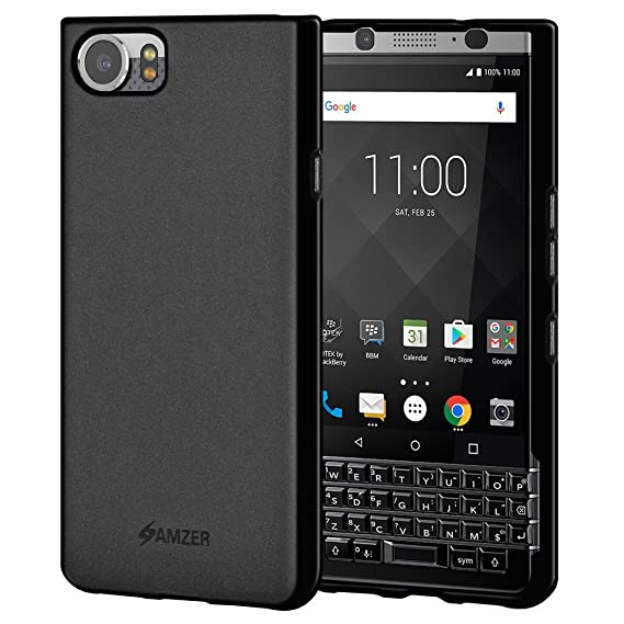 purchase cheap 05da4 56068 Amzer BlackBerry KEYone Case, Shock Absorption Bumper Anti Scratch Soft Gel  TPU Silicone Case Cover for BlackBerry KEYone - Black