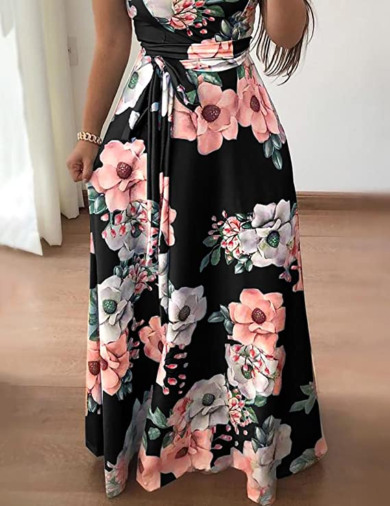 5817a7972a4918 MISOMEE Damen Kurzarm Floral Krawatte Taille Maxikleid: Amazon.de:  Bekleidung