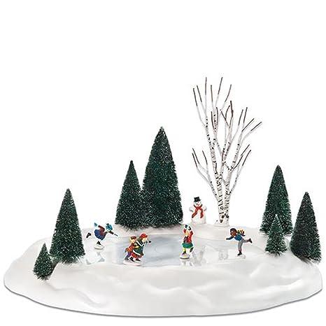 Christmas Ice Skating Rink Decoration.Department 56 Animated Skating Pond