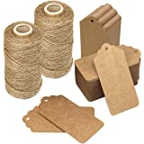 Blisstime Gift Tags 200 Pcs Kraft Paper Tags Hang Tags Blank Tags with 656ft Jute Twine String
