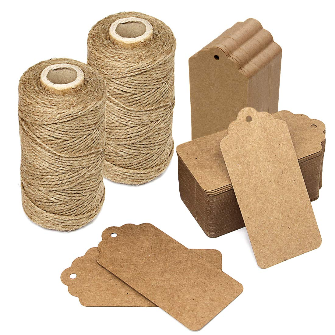 600 Feet Natural Jute Twine and 200 PCS Brown Retangle Kraft Paper Gift Tags for Crafts & Price Tags Lables by Blisstime