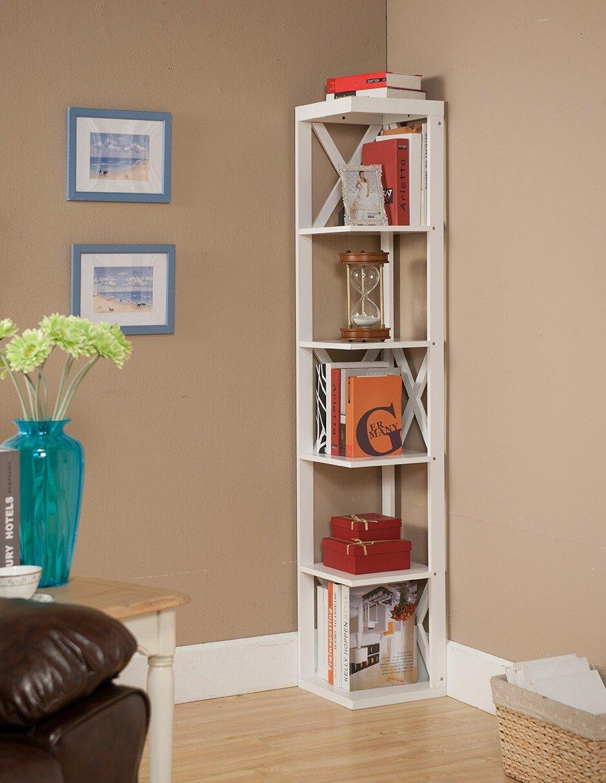 Kings Brand Furniture Wood Wall Corner 5 Tier Bookshelf Display Stand, White