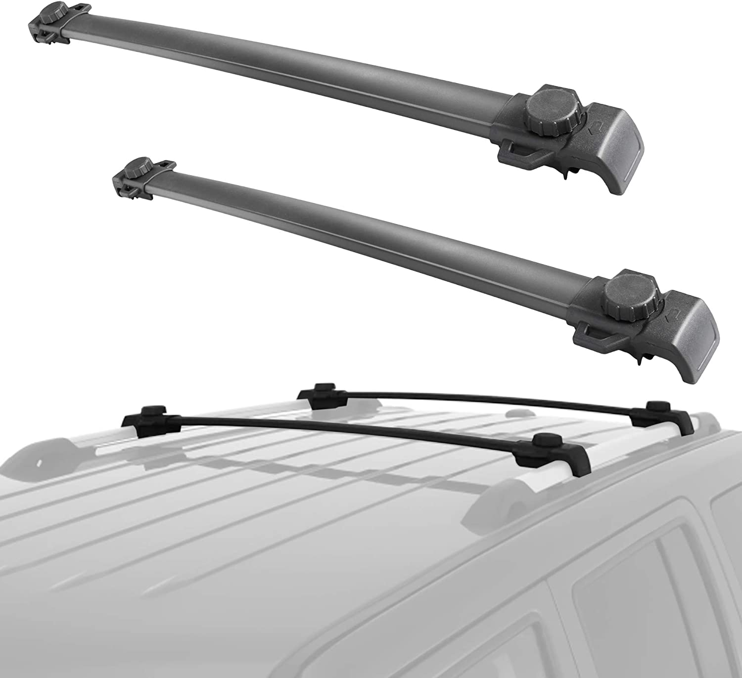 MOSTPLUS Roof Rack Cross Bar Rail Compatible with 2007-2017 Jeep Patriot Cargo Racks Rooftop Luggage Canoe Kayak Carrier Rack