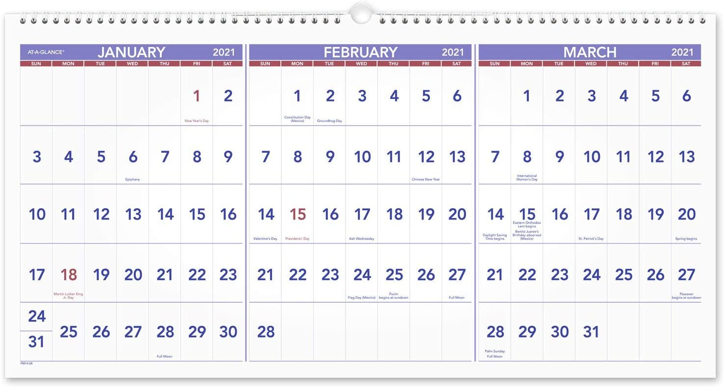 """2021 Wall Calendar by AT-A-GLANCE, 24"""" x 12"""", Large, Horizontal, 3-Month Reference, Wirebound (PM142821)"""
