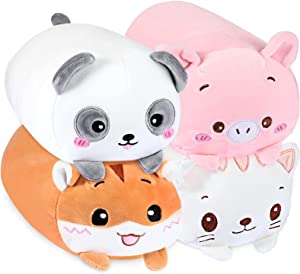 Plush Toys Set, 4 Pieces Cute Panda/ Pig/ Cat/ Squirrel Stuffed Animal Toy Plush Stuffed Animal Cylindrical Body Pillow Soft Cartoon Hugging Toy for Girls, Boys and Bedding, Kids Sleeping Pillow