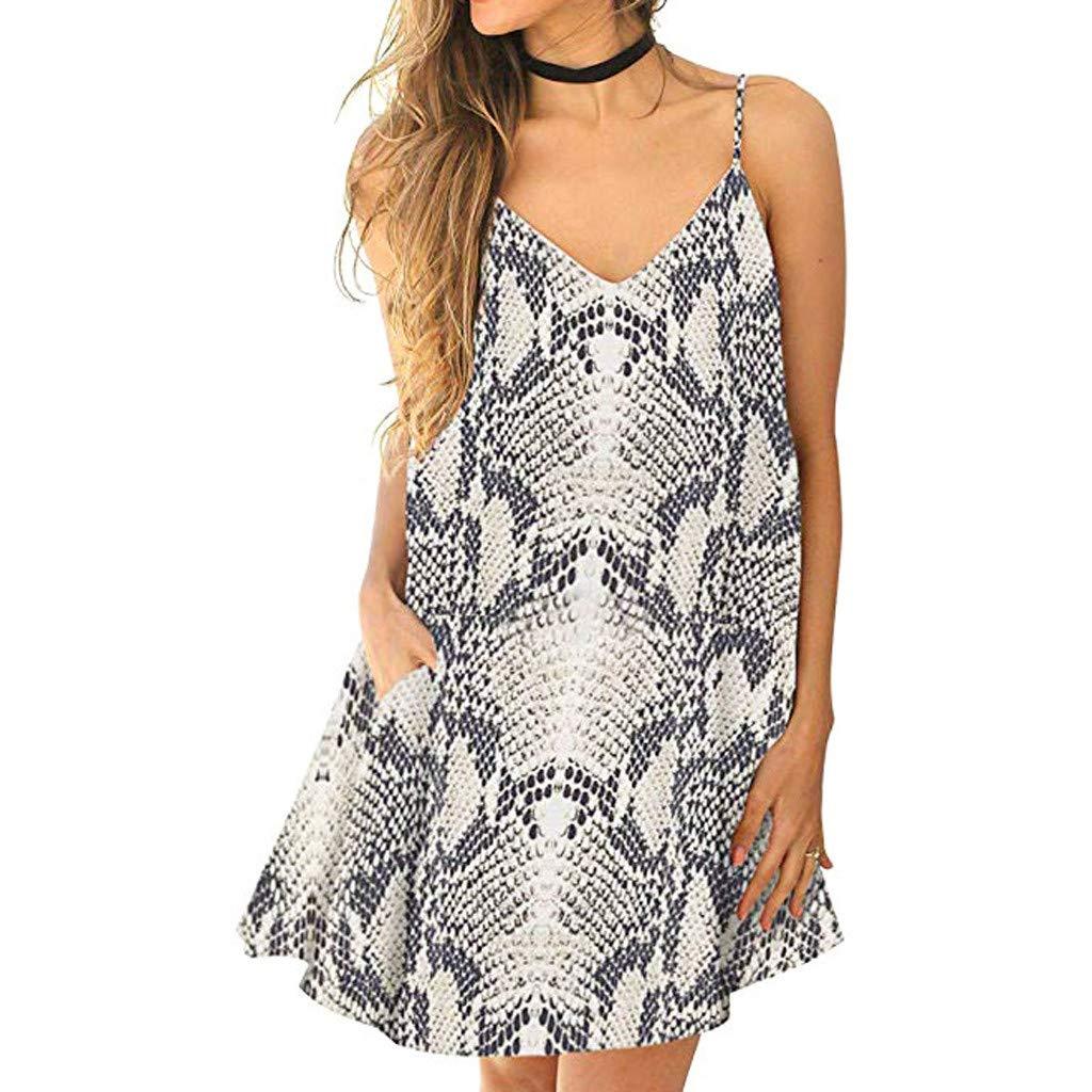 Uscharm Leopard Print Dress Fashion Womens Sexy V-Neck Backless Sleeveless Pocket Off Shoulder Dress(Gray, XL) by Uscharm