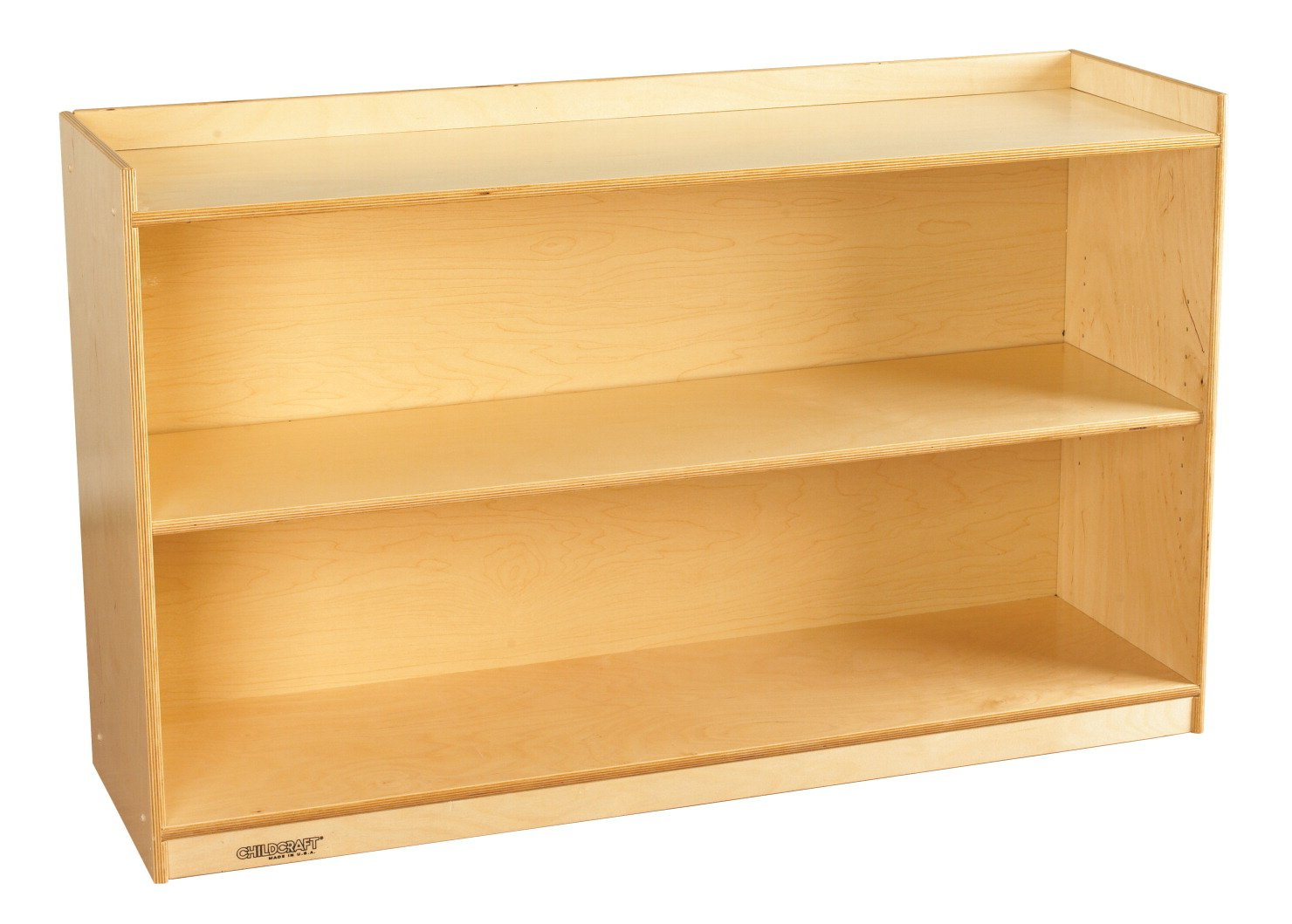 Childcraft 1464171 Adjustable Mobile Book Case with Lip, 2-Shelf, Wood, 47-3/4'' x 14-1/4'' x 30'', Natural Wood Tone