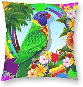 WAZHIJIA Painted Parrot Decorative Throw Pillow Covers 18 X 18 Inch,Cartoon Tropical Flower Forest Bird Cotton Linen Cushion Cover Square Pillow Cases for Car Sofa Home Decor