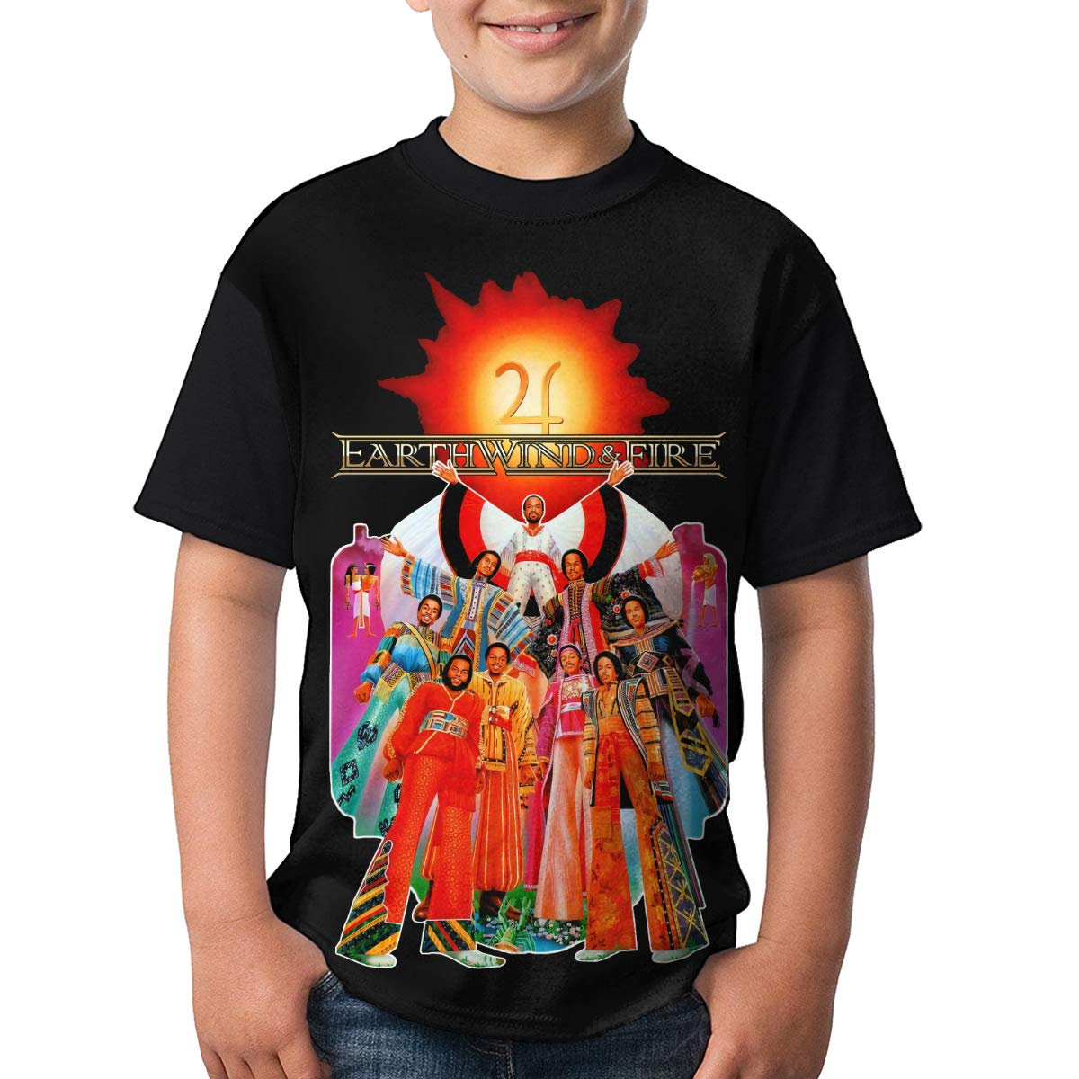Earth Wind /& Fire T Shirts Youth Short Sleeve Casual T-Shirts Tops for Boy Girl