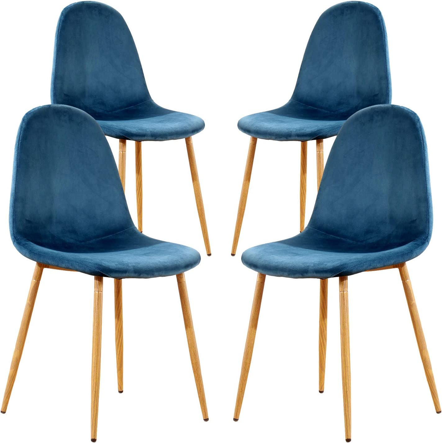 Teraves Dining Chairs Set of 4,Velvet Kitchen Seat Chair with Metal Legs for Home Lounge Living Room
