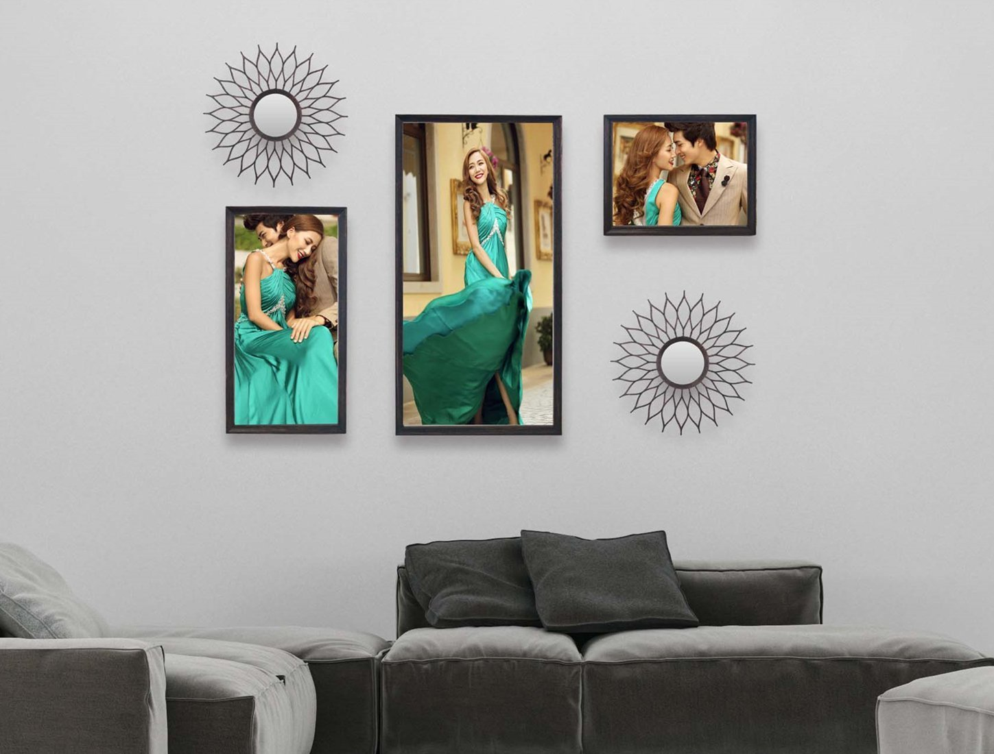 Photo Frames Set for Wall Black Collage Multiple Plastic Picture Frame for Living room& Bedroom Size: 5 pcs of 8x10,8x16,12x25inch and two mirrors Home Decoration (With mirrors)