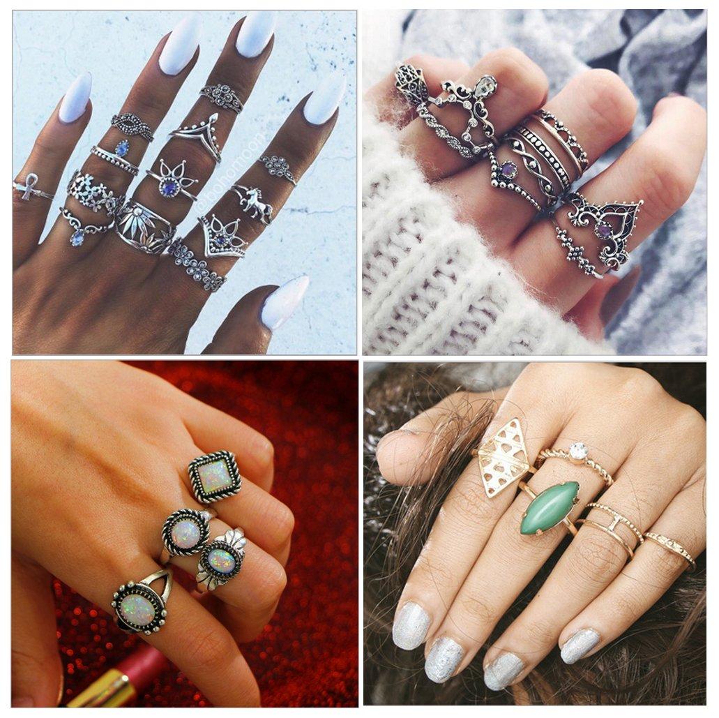 MarJunSep Pack of 4 Sets, Vintage Fashion Knuckle Ring Set Boho Midi Stackable Rings Set For Women Girls (32)