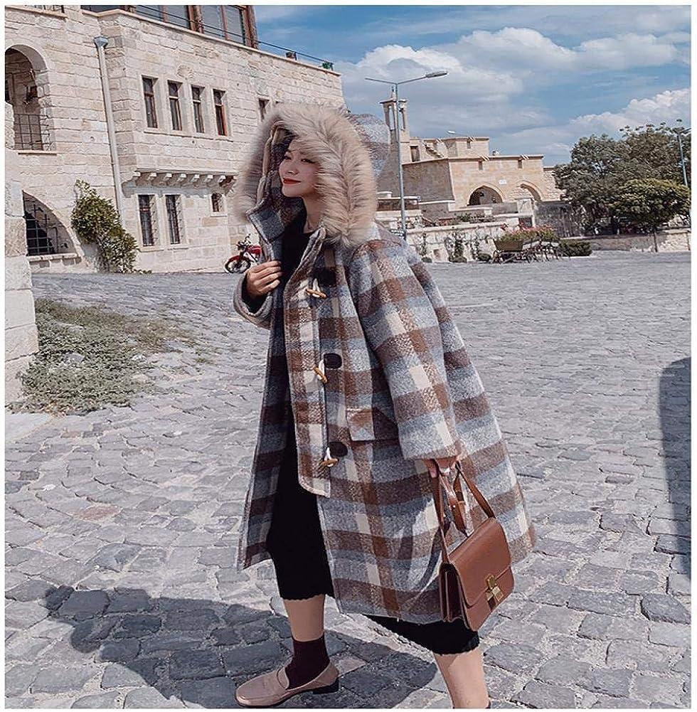 WDAYI Cappotto da Donna in Lana con Cappuccio Abbottonato Collo in Pelliccia Abbottonato Retro Gray