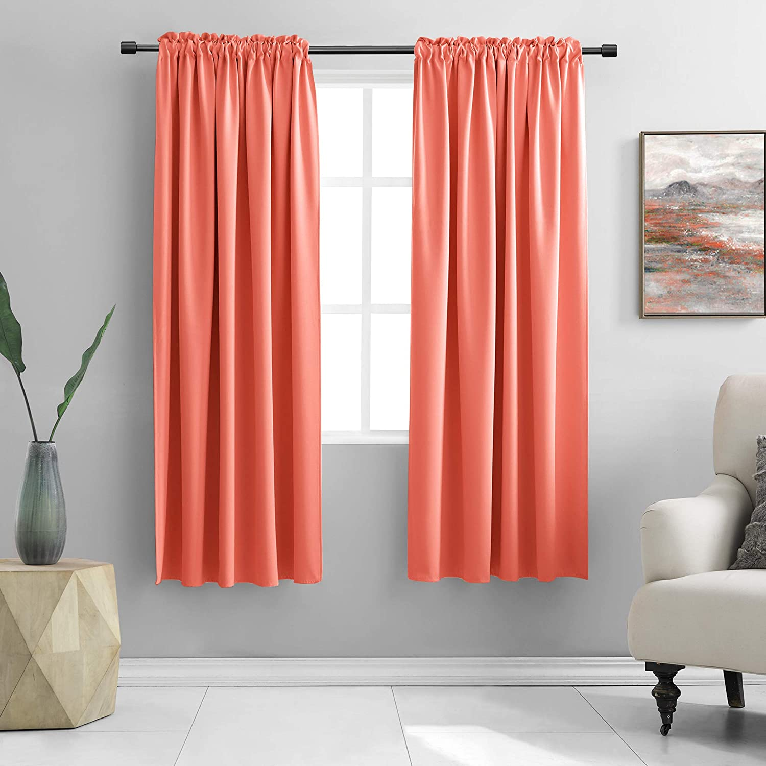 Donren Room Darkening Rod Pocket Curtain Panels Thermal Insulated Curtains For Living Room Coral 42 W X 72 L Inch 2 Panels Home Kitchen
