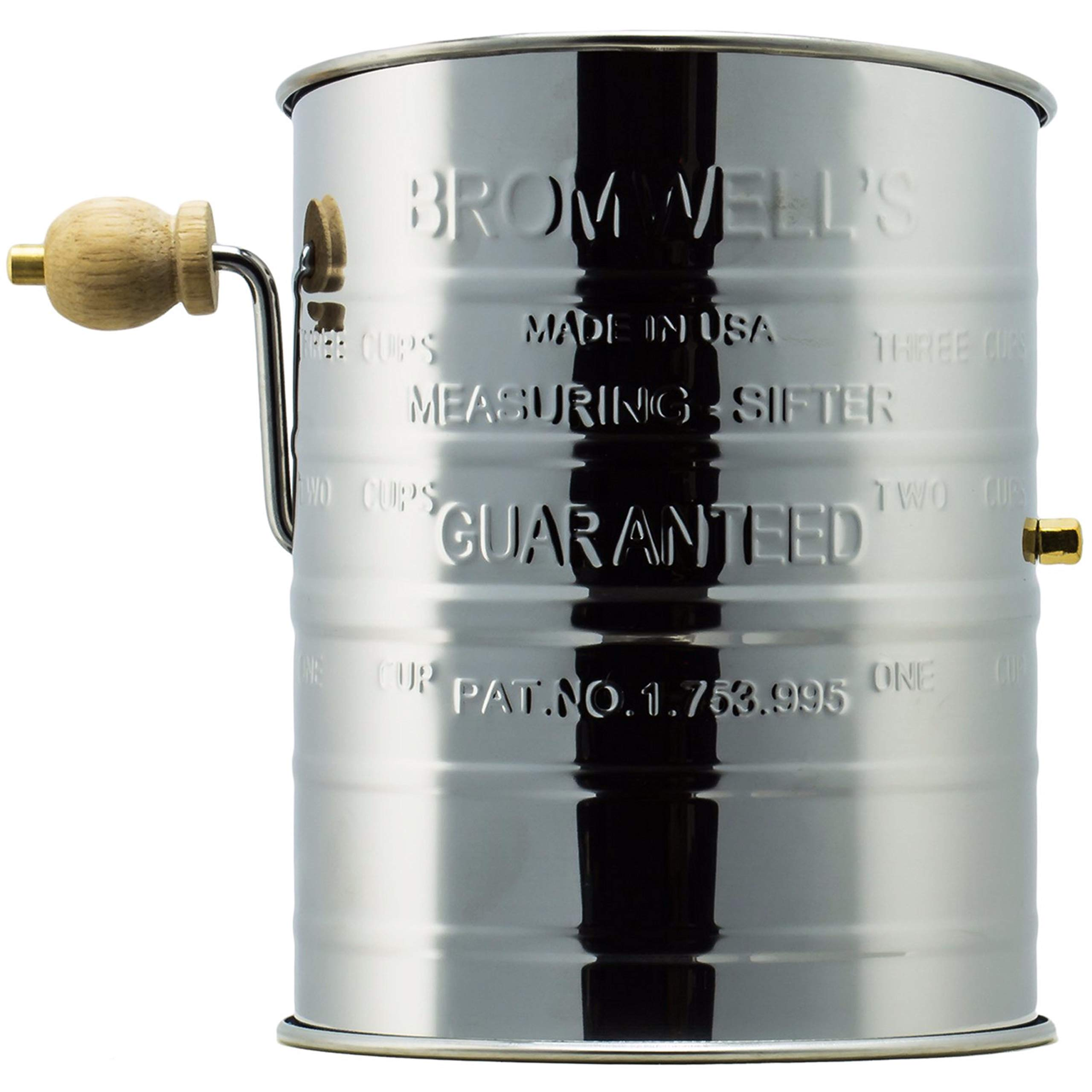 Jacob Bromwell Legendary Flour Sifter (3-Cup), Stainless Steel Crank Sifter, Made in USA