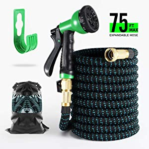 """BOSNELL Expandable Garden Hose,Durable Flex Water Hose,8 Function Spray Hose Nozzle, 3/4"""" Solid Brass Connectors, Extra Strength Fabric, Lightweight Expanding Hose 50FT/75FT/100FT (75FT)"""