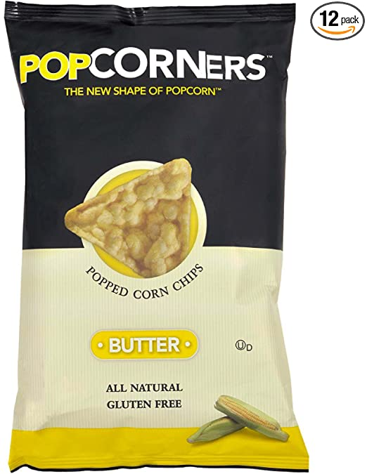 Popcorners Popped Corn Chips, Butter, 5-Ounce Packages (Pack of 12)