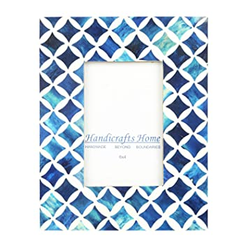 Amazon Com Handicrafts Home 4x6 Photo Frame Blue White Bone Mosaic