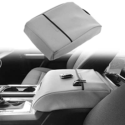 BASIKER Auto Console Lid Covers for Ford F-150 Raptor Truck 2002-2020 Center Console Armrest Cover Gray Waterproof Cloth: Automotive