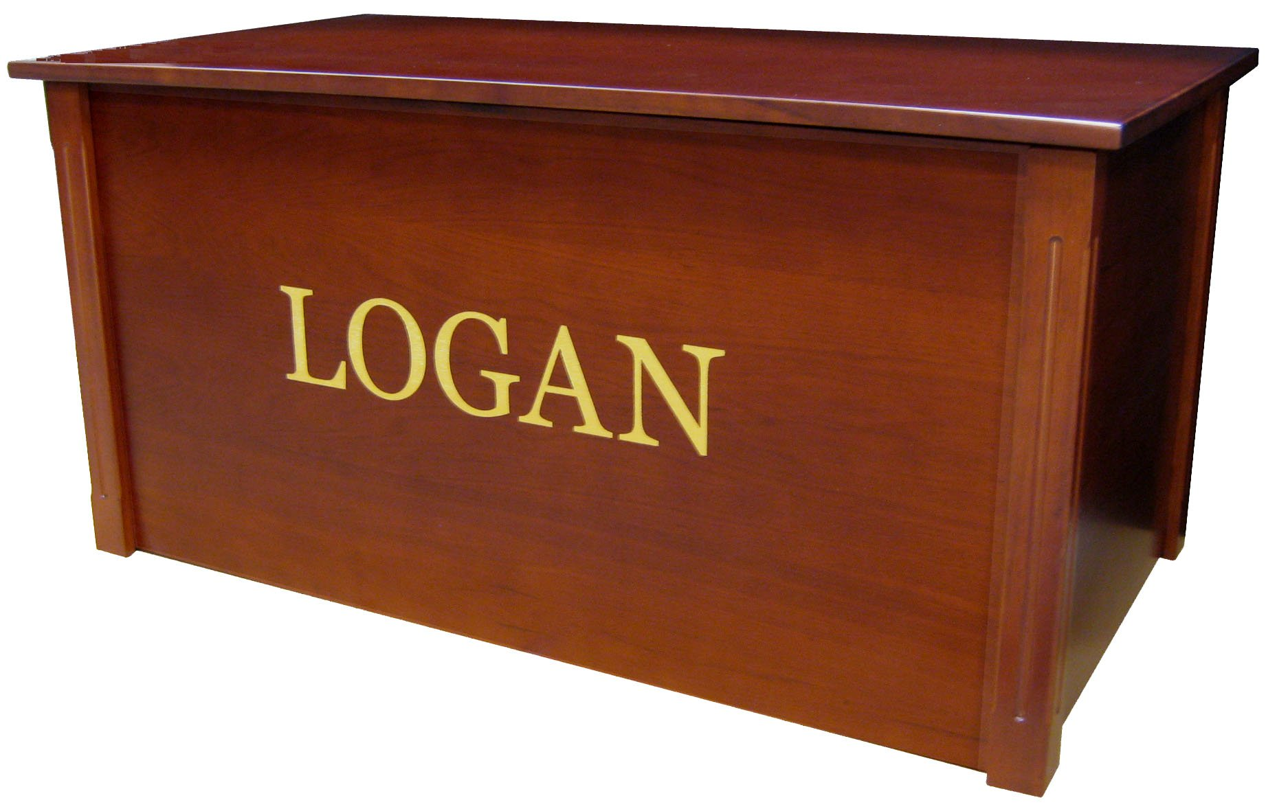 Wood Toy Box, Large Cherry Toy Chest, Personalized Georgia Font, Custom Options (Standard Base - Gold Lettering)