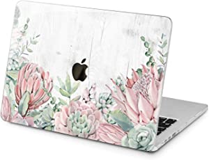 Lex Altern Hard Case for Apple MacBook Pro 15 Air 13 inch Mac Retina 12 11 2020 2019 2018 2017 2016 Protective Floral Cactus White Succulent Pastel Touch Bar Shell Cover Women Wood Design Flower