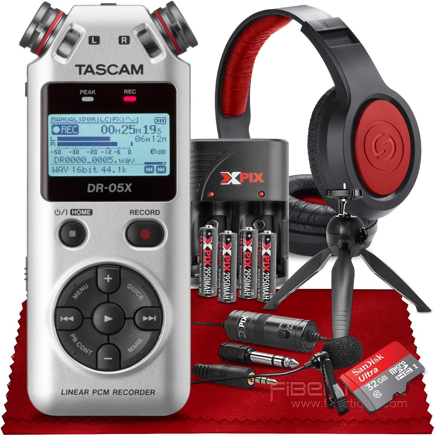 Tascam DR-05X Stereo Handheld Digital Audio Recorder with USB Audio Interface 32GB Memory Card + SR360 Stereo Headphones Xpix Lavalier Microphone Tripod /& Xpix AA Batteries W//Charger Silver