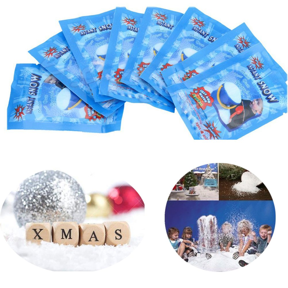 40 Pack SAP Magic Snow Instant Snow Powder Fake Fluffy DIY Artificial Simulation Snow for Making Cloud Slime Absorbant Polymer Christmas Wedding Festival Market Fairy House Decor Prop Children Toys