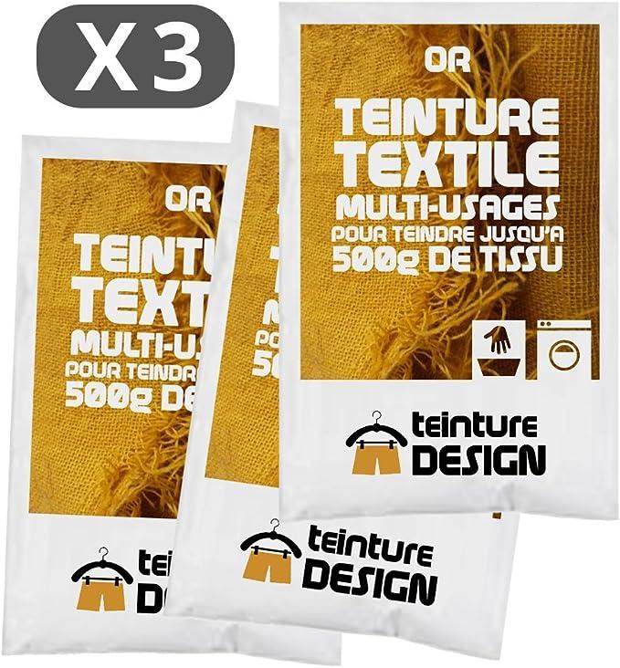 Tinte textil dorado para ropa y tejidos naturales (3 unidades)