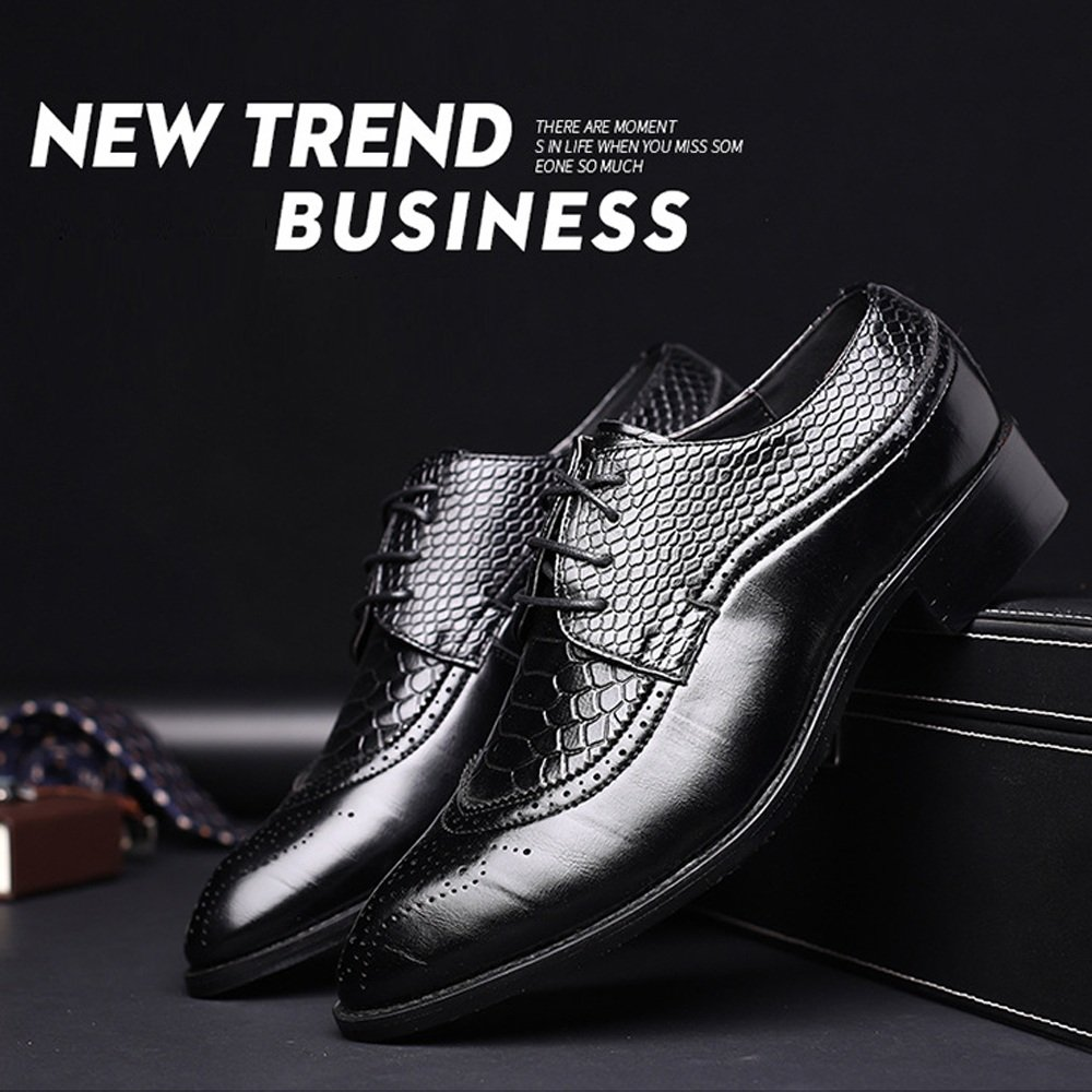 MUMUWU Mens PU Leather Shoes Hollow Carving Splice Snake Skin Texture Upper Lace Up Oxfords