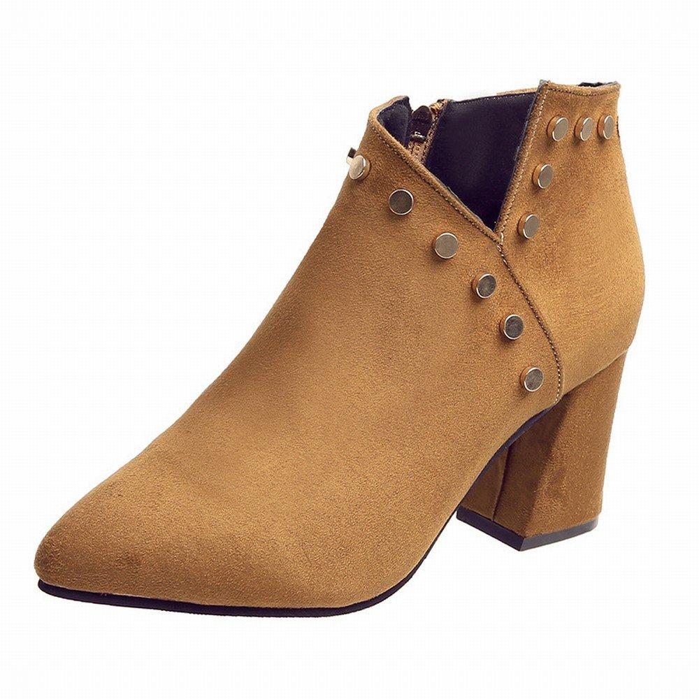 DHG Add Samtspitze Einzelne Herbst Schuhe Seite High Heels Wildleder Seite Schuhe mit Einem Niet V-Seite Reißverschluss Schuhe Gelb 37 4cb004
