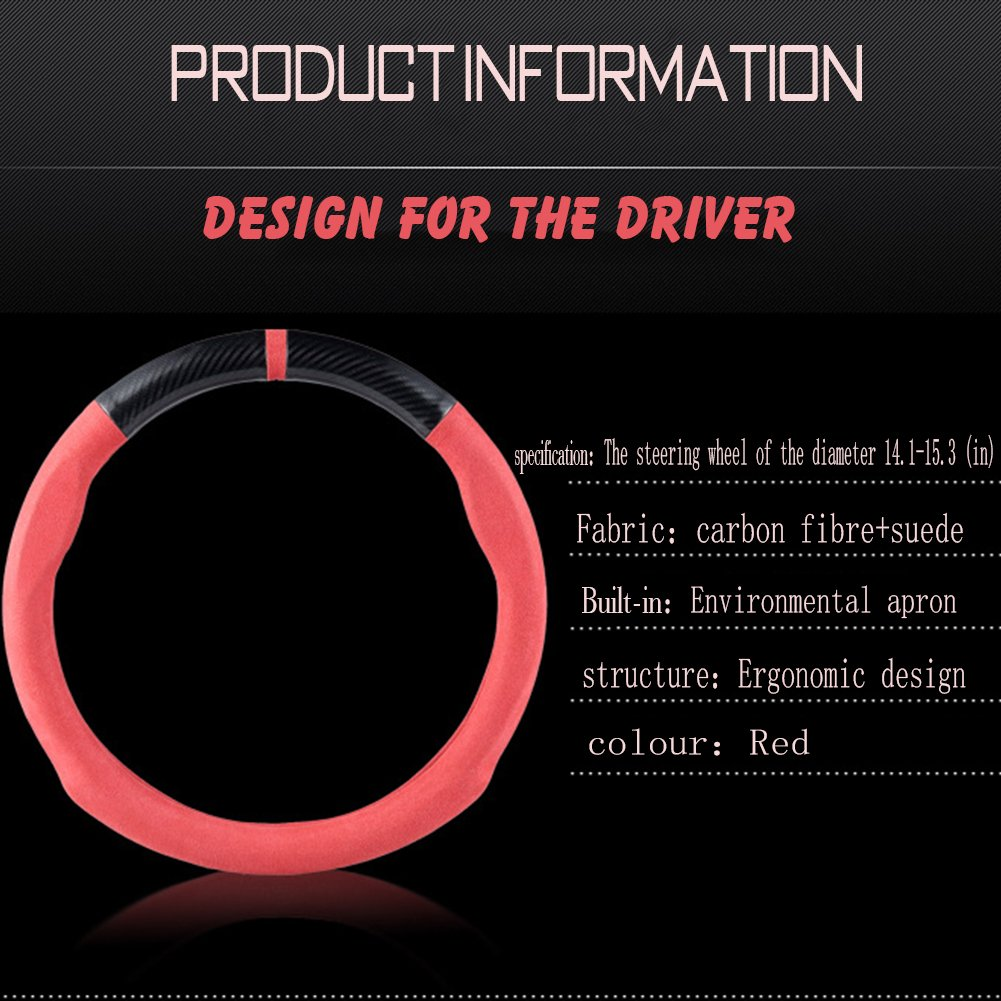 Car Carbon Fiber Suede Steering Wheel Cover Auto Anti-Slip Leather Automotive Interior Accessories Decorate 15 Inch Universal Red /& Black Color