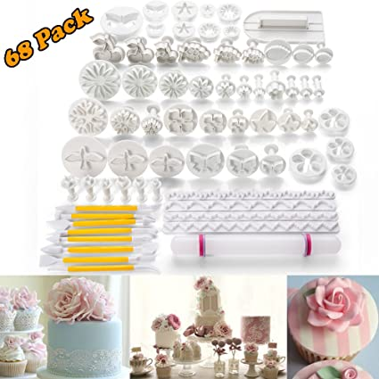 Amazoncom 68pcs Fondant Cake Decoration Tools Kit Sugarcraft Icing