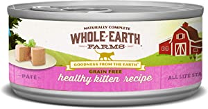 Whole Earth Farms Grain Free Wet Cat Food Kitten (24) 2.75oz cans