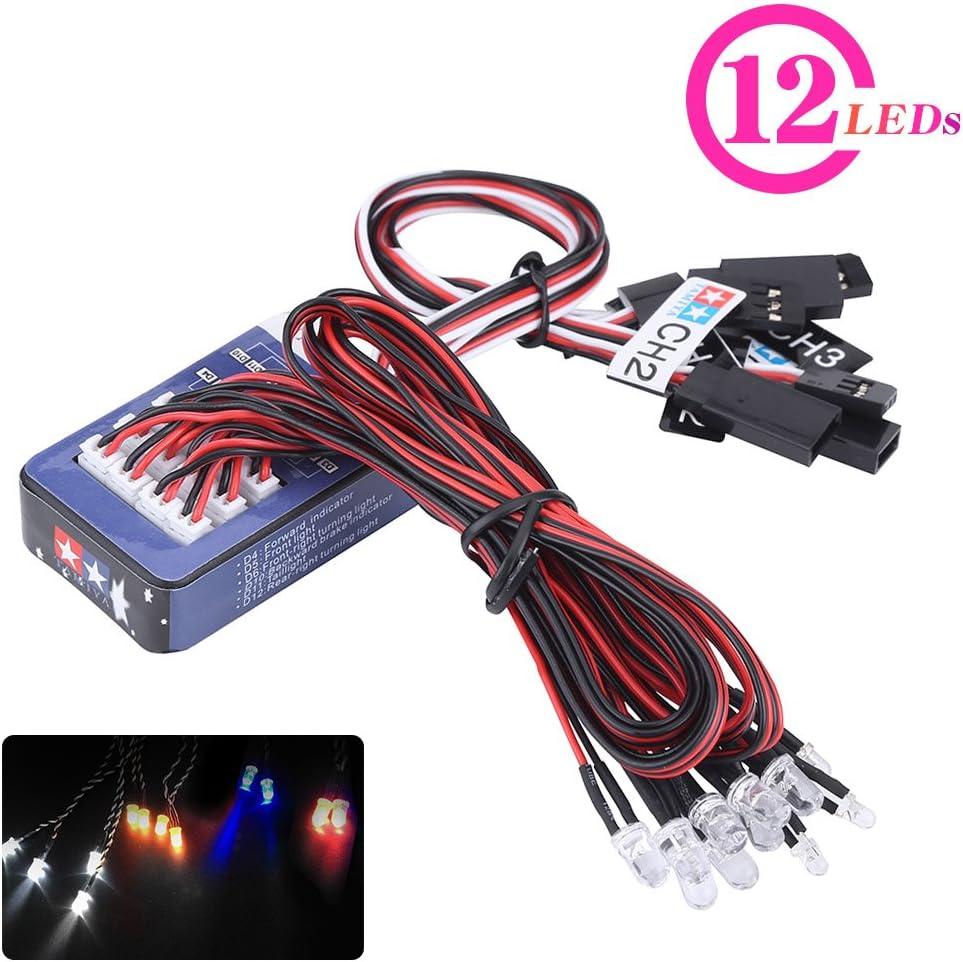 12 LED RC Coche Luz, Lluminación Kit de Sistema Simulación Flashing Lights para 1/10 1/8 RC Coche/Camión/Crawler