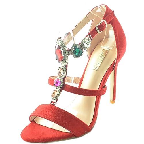 alto roja lujo de aguja de tacon con para mujer Línea de tacon Sandalia XZPkuTiO
