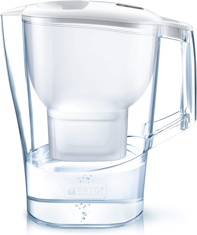 BRITA Aluna – Jarra de Agua Filtrada con 1 cartucho MAXTRA+ – Filtro de agua BRITA que reduce la cal y el cloro – Agua filtrada para un sabor excelente – Filtro de agua color blanco