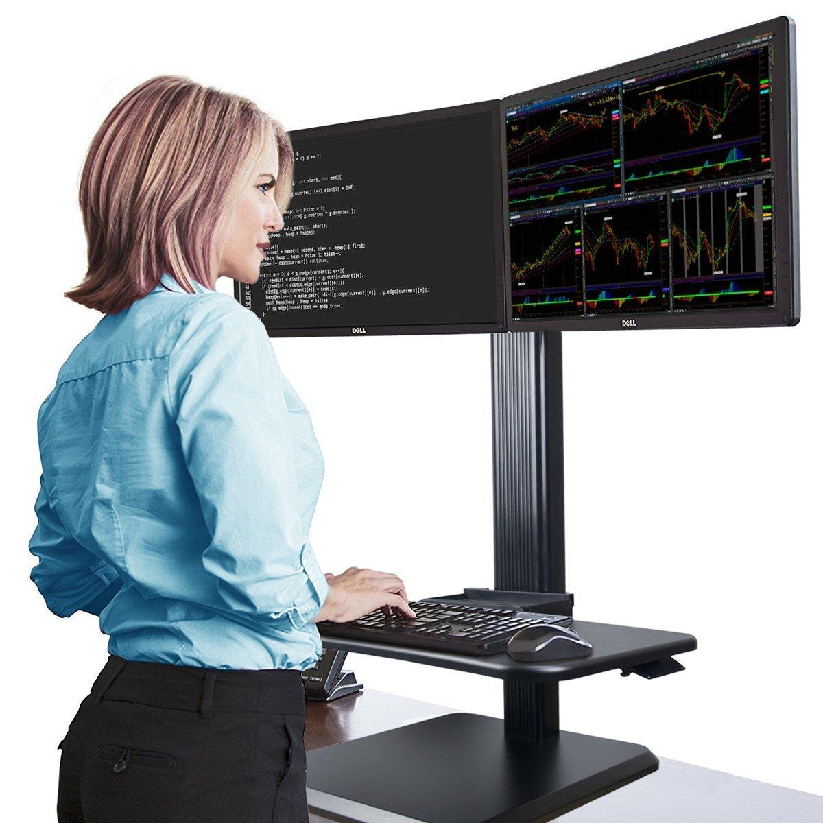 Height Adjustable Dual Monitor Sit Stand Desk, Standing Desk Workstation, Black