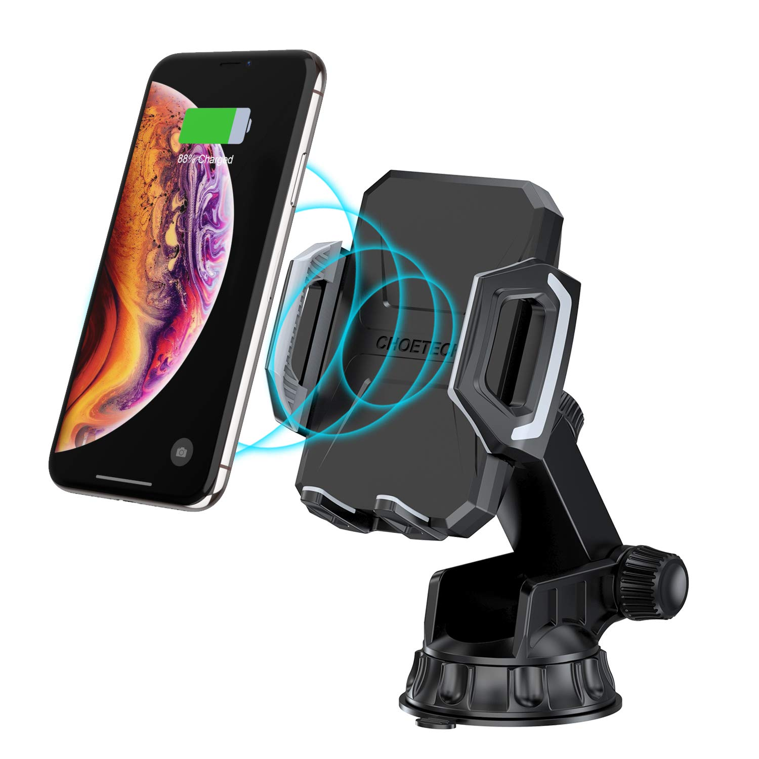 CHOETECH Wireless Car Charger Dashboard /& Windshield CHOE TECHNOLOGY 4351526132 10W for Samsung Galaxy Note 9 S9 S9 Plus S10 Adjustable Fast Wireless Charger Car Mount 7.5W Compatible with iPhone Xs XS Max Xr 8 8 Plus X